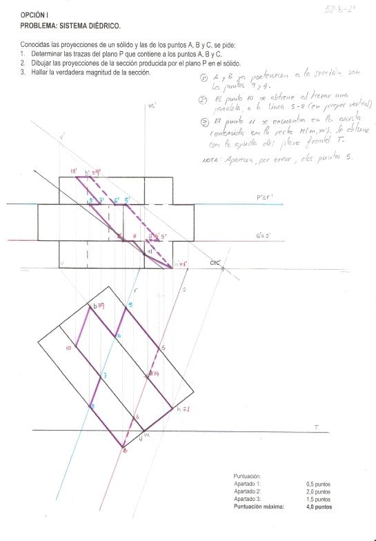 Sección del prisma de cruz latina por un plano definido por tres puntos.